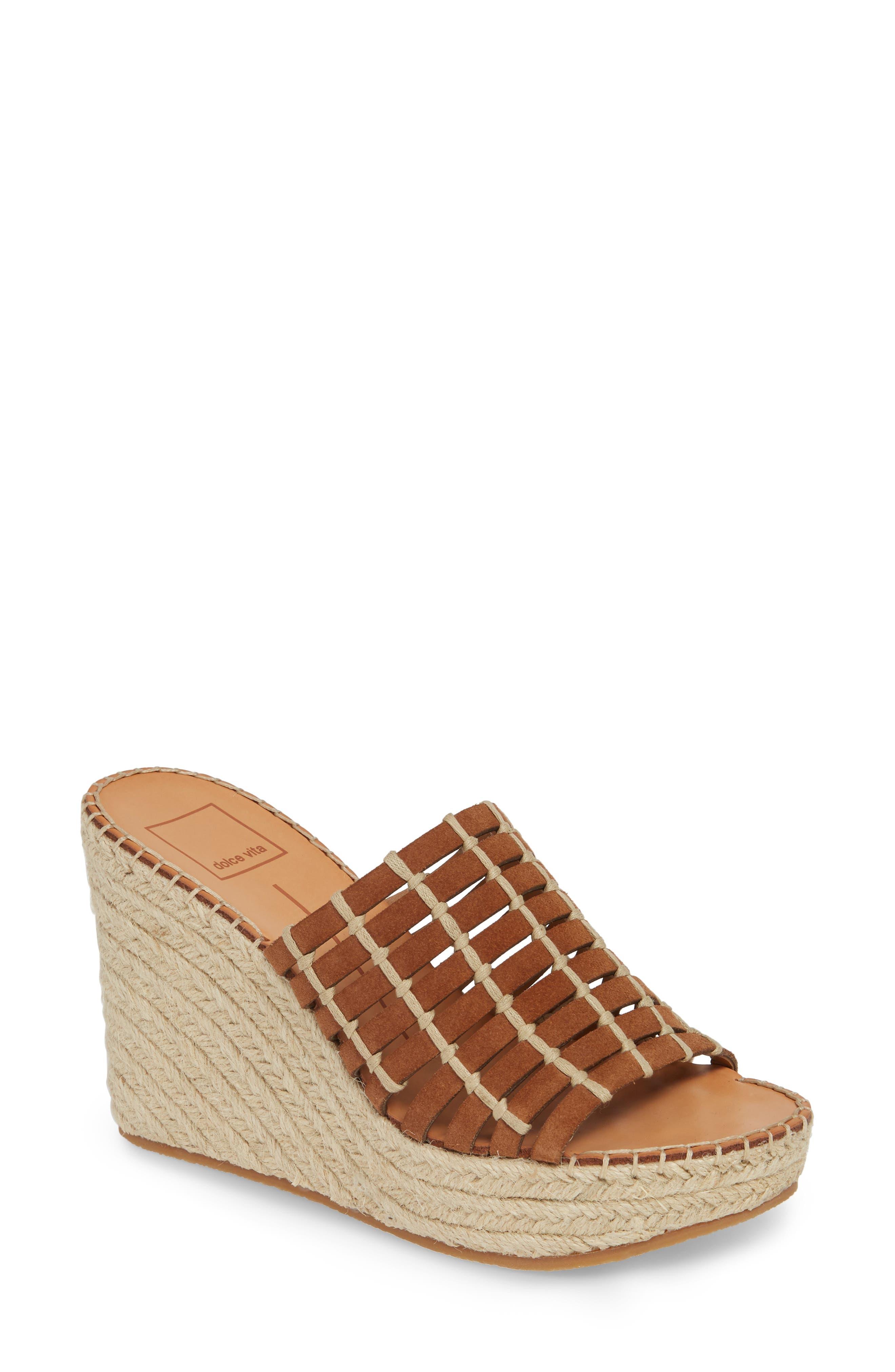 Dolce Vita Prue Espadrille Wedge Slide Sandal, Brown