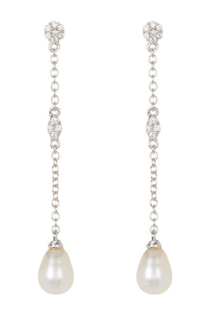 Image of ADORNIA Sterling Silver Swarovski Crystal Accented & 7mm Freshwater Pearl Drop Earrings