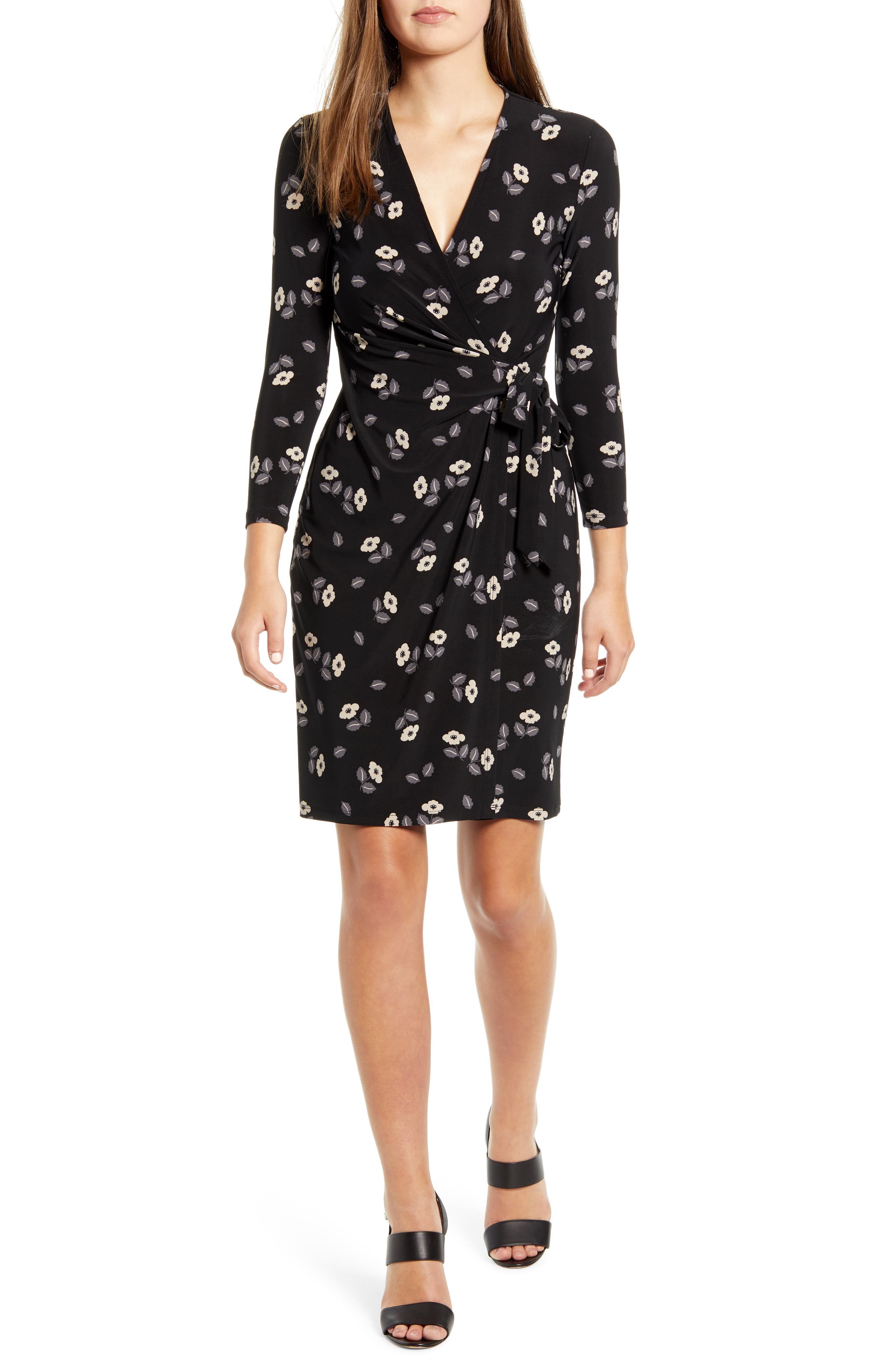 Anne Klein Rose Print Dress, Black