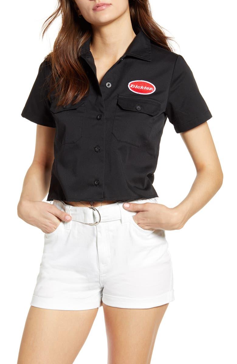 DICKIES Crop Work Shirt, Main, color, BLACK