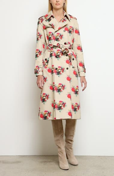 Floral Print Cotton Twill Trench Coat, video thumbnail