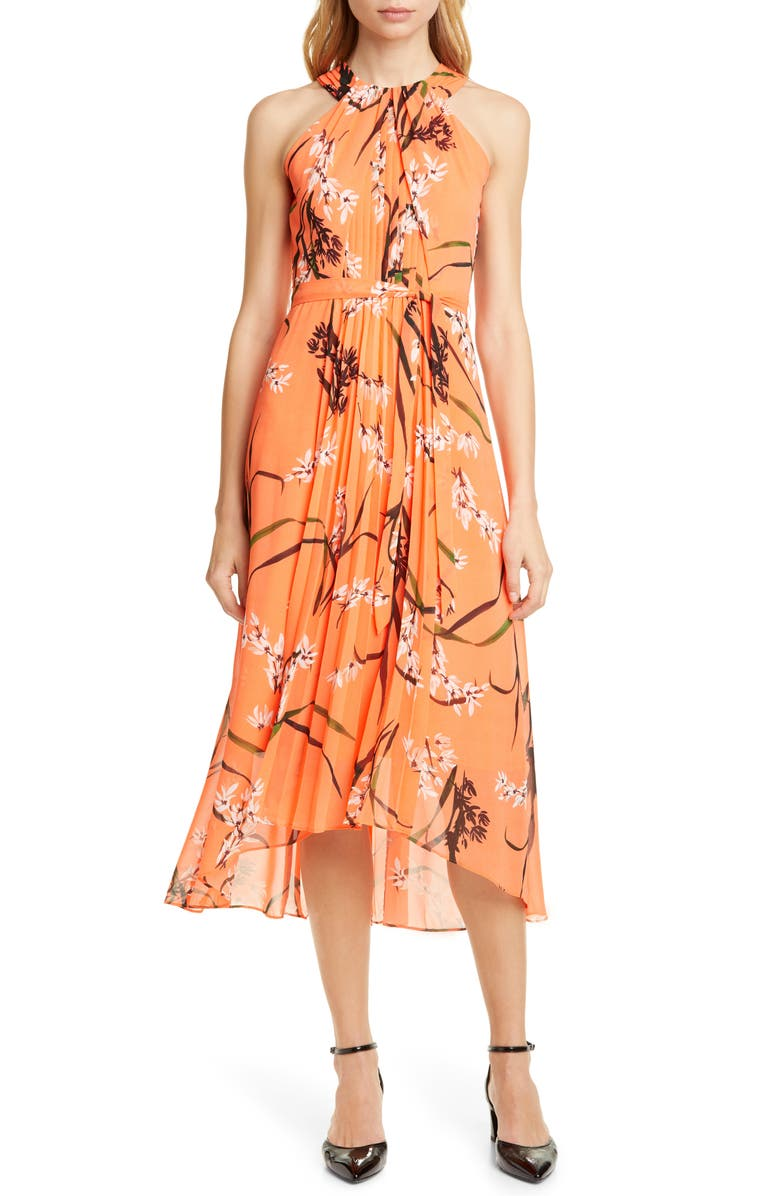 KAREN MILLEN Floral Midi Dress, Main, color, CORAL