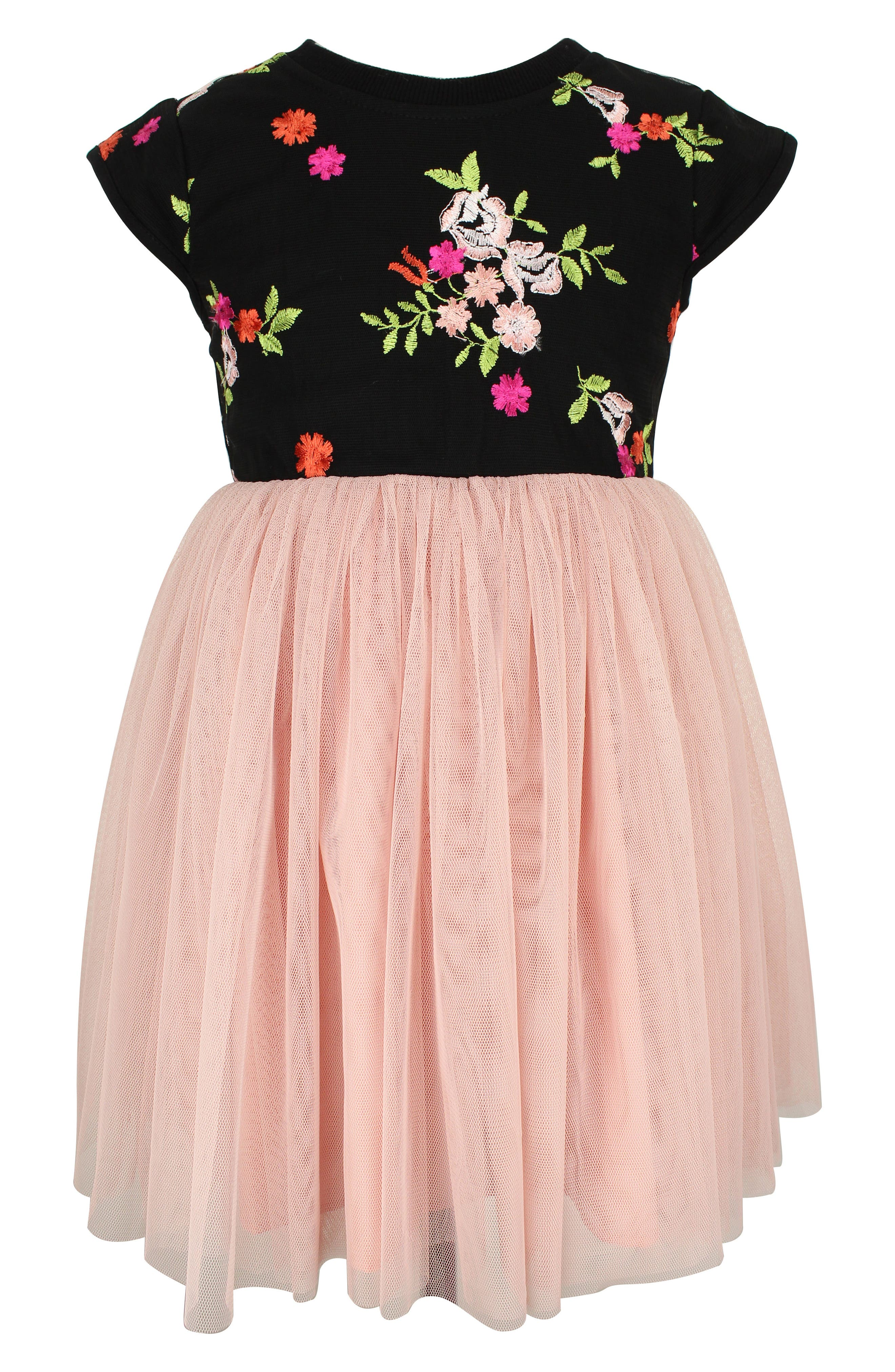 0f03a3b72 Girl's Popatu Floral Embroidery Tulle Dress
