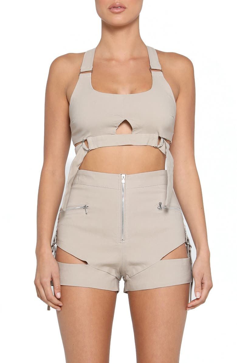 TIGER MIST Reed Cutout Utility Crop Top, Main, color, TAN