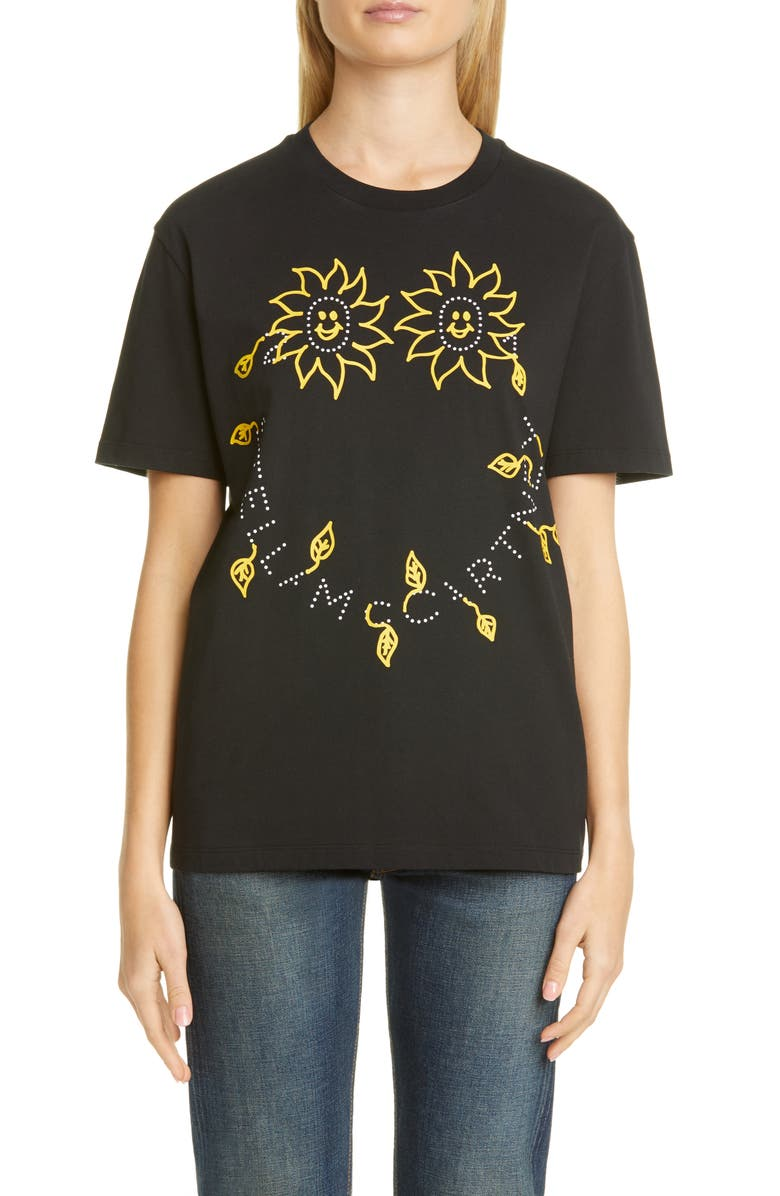 STELLA MCCARTNEY Sunshine Logo Organic Cotton T-Shirt, Main, color, BLACK