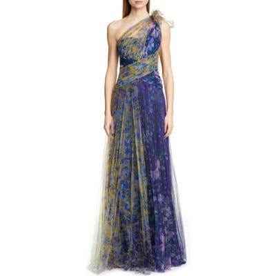Marchesa Notte One-Shoulder Floral Tulle Gown, Blue