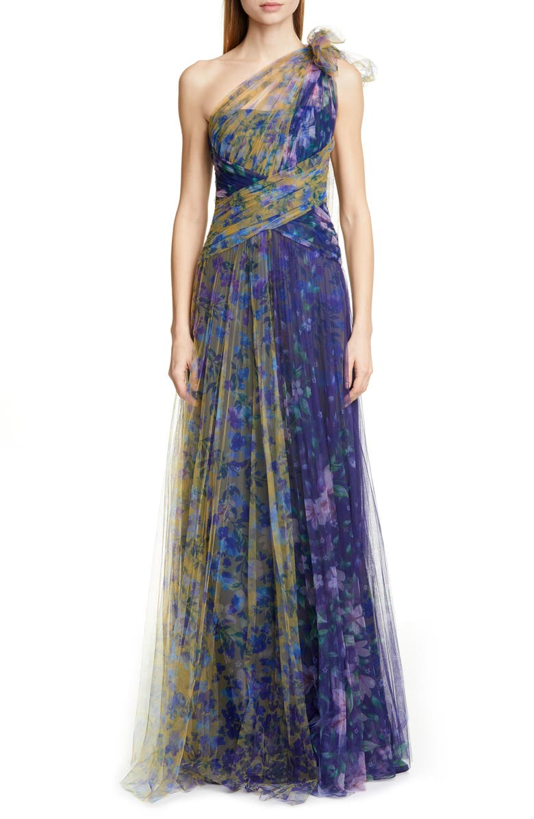 MARCHESA NOTTE One-Shoulder Floral Tulle Gown, Main, color, 410