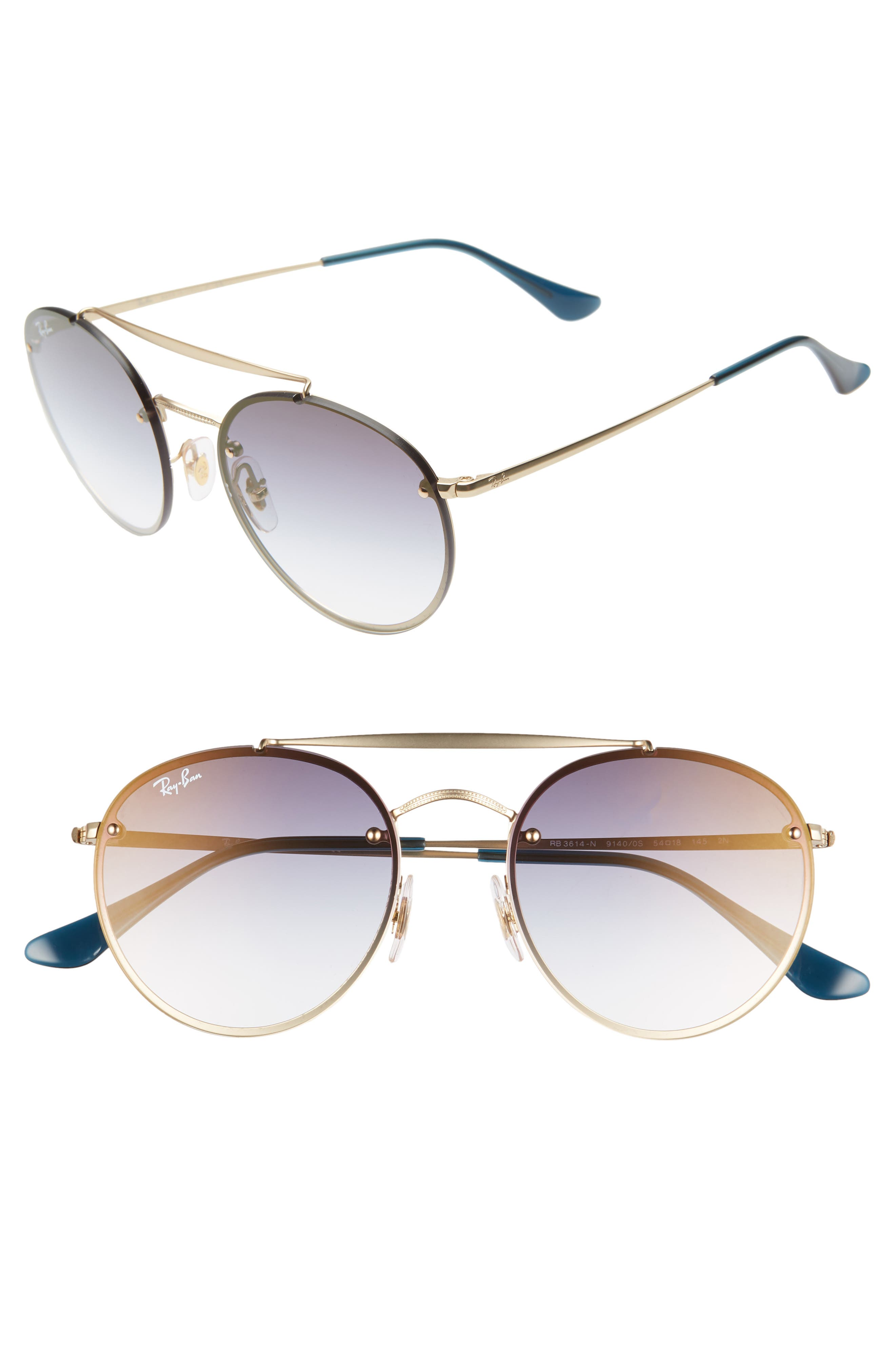 Ray-Ban 5m Polarized Gradient Round Sunglasses - Gold/ Blue Gradient
