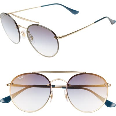 Ray-Ban 5m Polarized Gradient Round Sunglasses - Gold/ Blue Gradient
