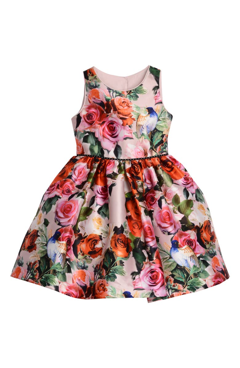 PIPPA & JULIE Floral Print Shantung Dress, Main, color, MULTI