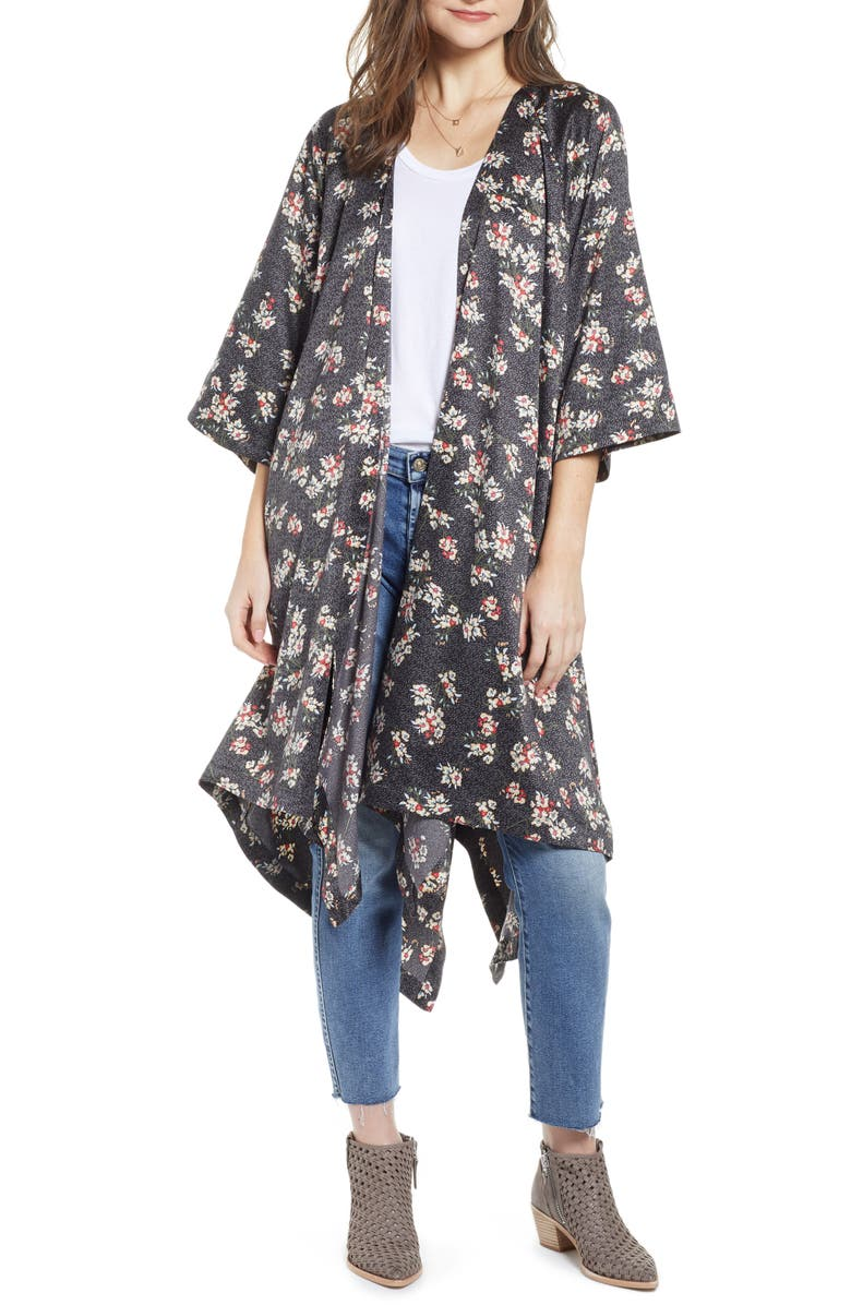 TREASURE & BOND Print Long Duster, Main, color, BLACK BAMBOO FLORAL