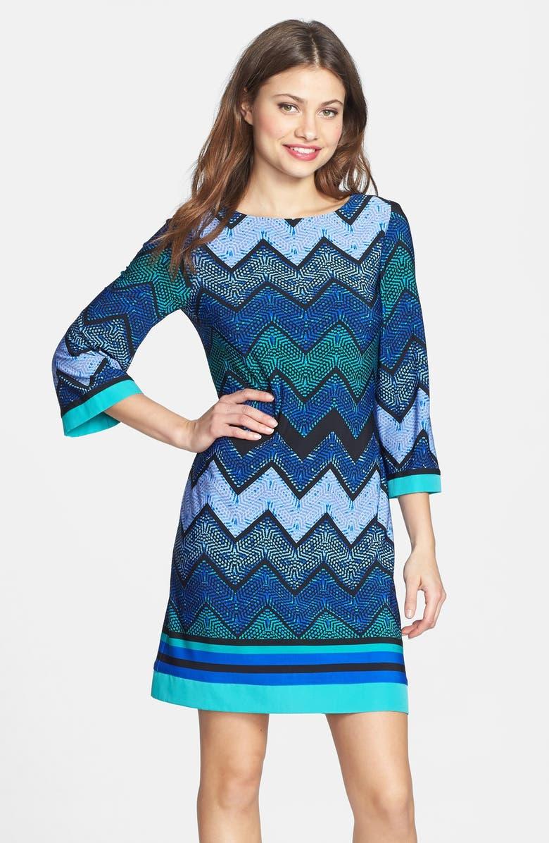 ELIZA J Print Jersey Shift Dress, Main, color, 510