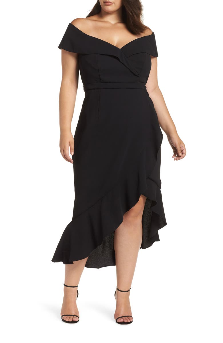 XSCAPE Off the Shoulder Ruffle Midi Dress, Main, color, 001