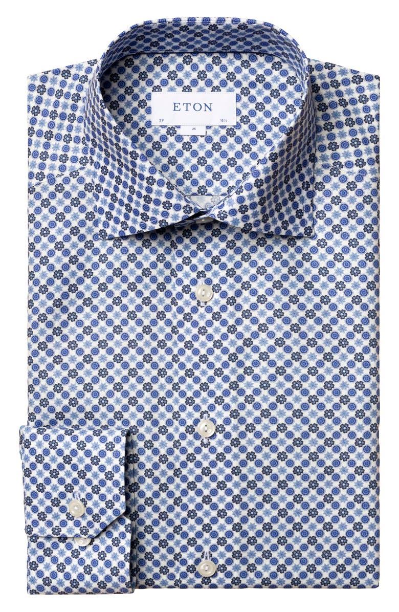 ETON Slim Fit Medallion Dress Shirt, Main, color, 400