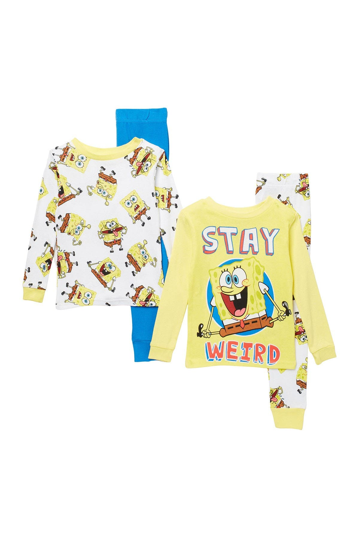 Image of AME Spongebob Print Cotton Pajama Set - Set of 2