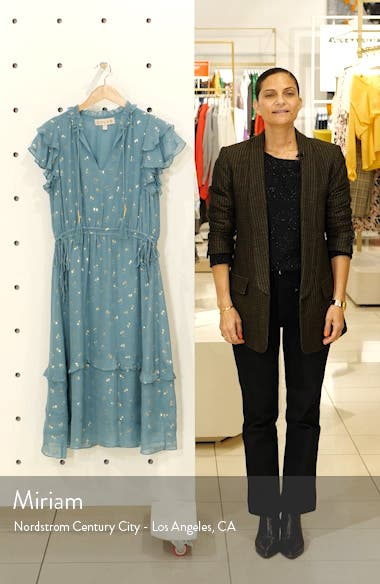Jamie Tassel Tie Metallic Silk Jacquard Dress, sales video thumbnail