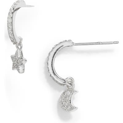 Sterling Forever Moon Star Huggie Hoop Earrings