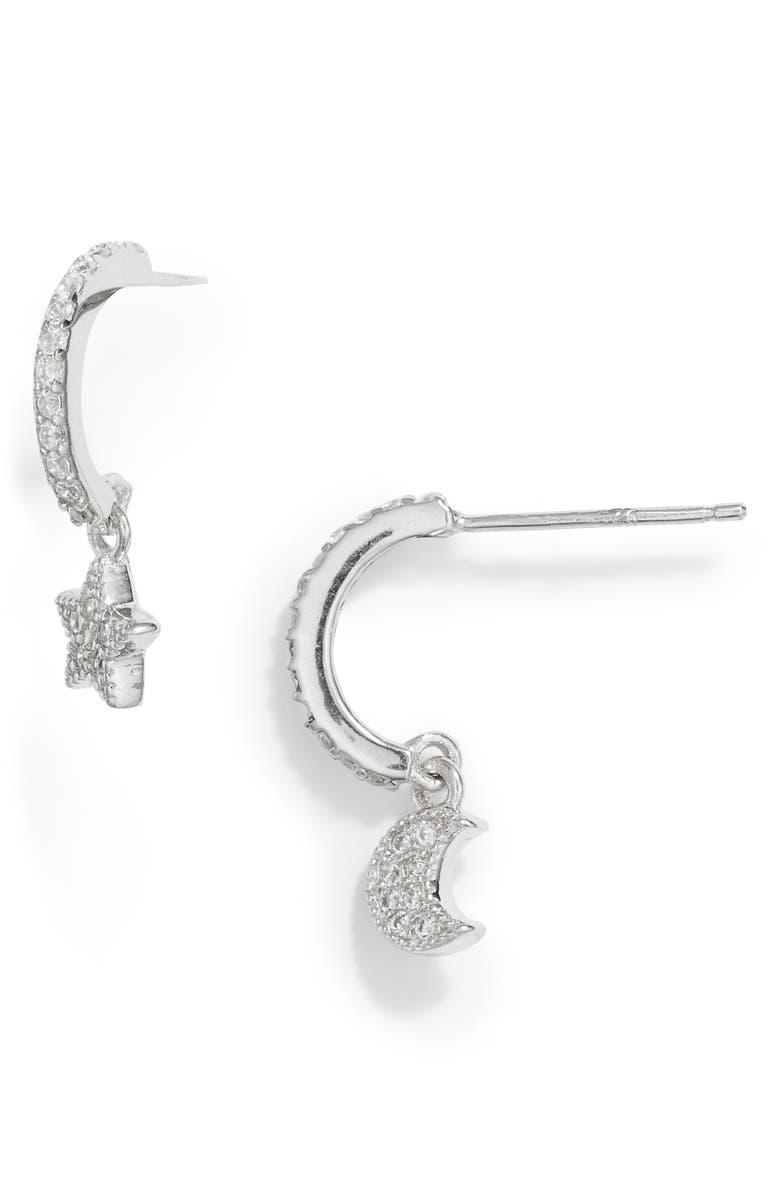 STERLING FOREVER Moon Star Huggie Hoop Earrings, Main, color, SILVER