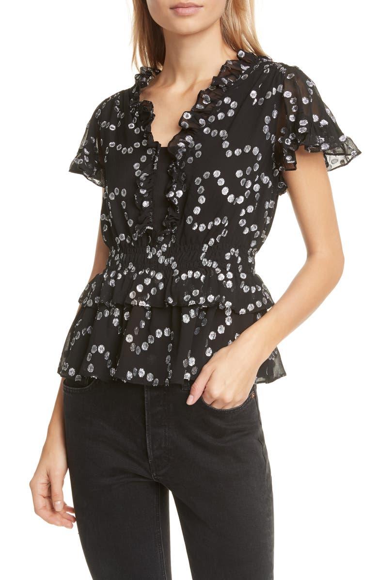 REBECCA TAYLOR Metallic Dot Short Sleeve Silk Blend Blouse, Main, color, 001