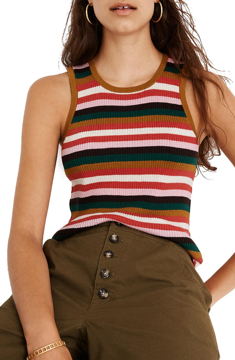 MADEWELL Stripe Bayford Sweater Tank, Main, color, PEARL IVORY