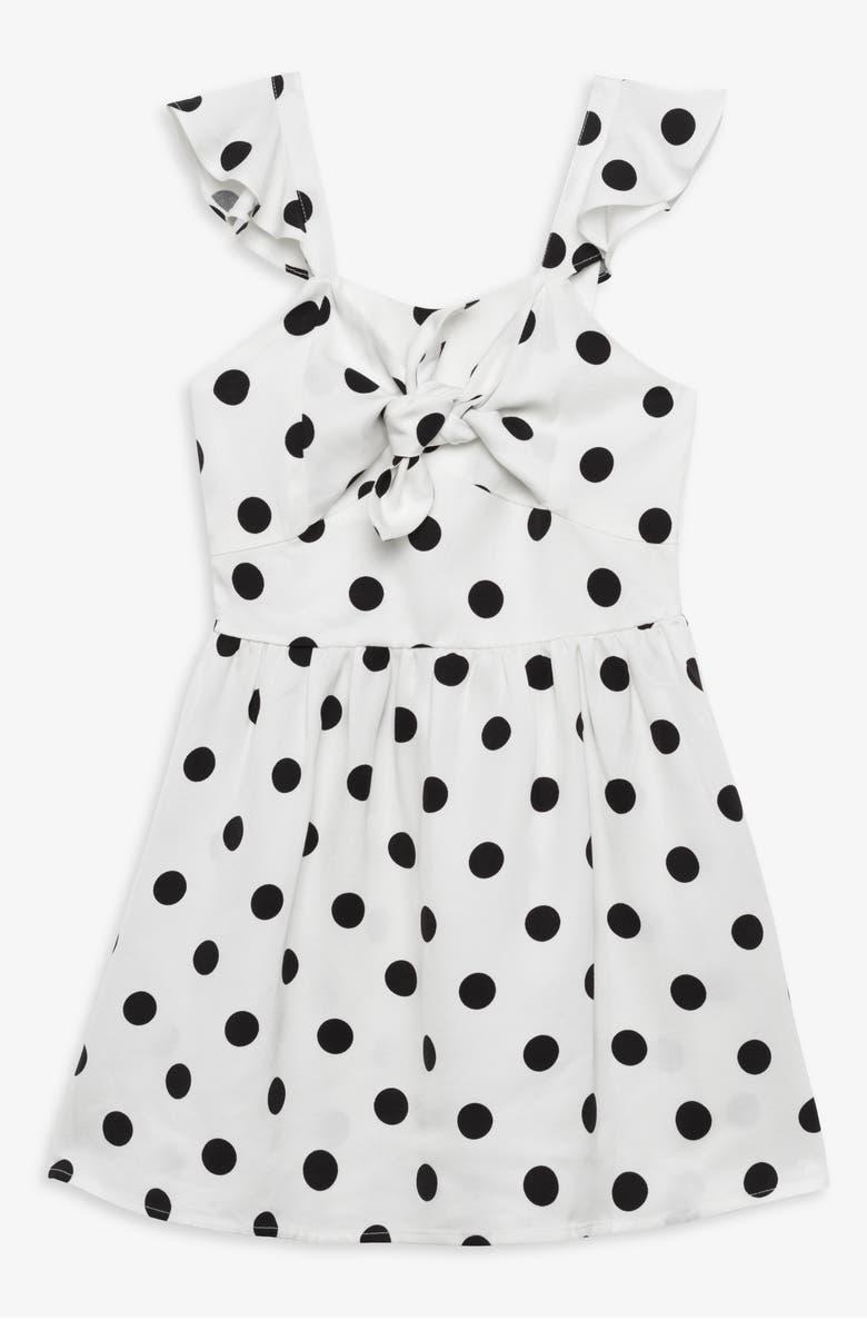 BARDOT JUNIOR Bardot Spot Knot Sleeveless Dress, Main, color, SPOT