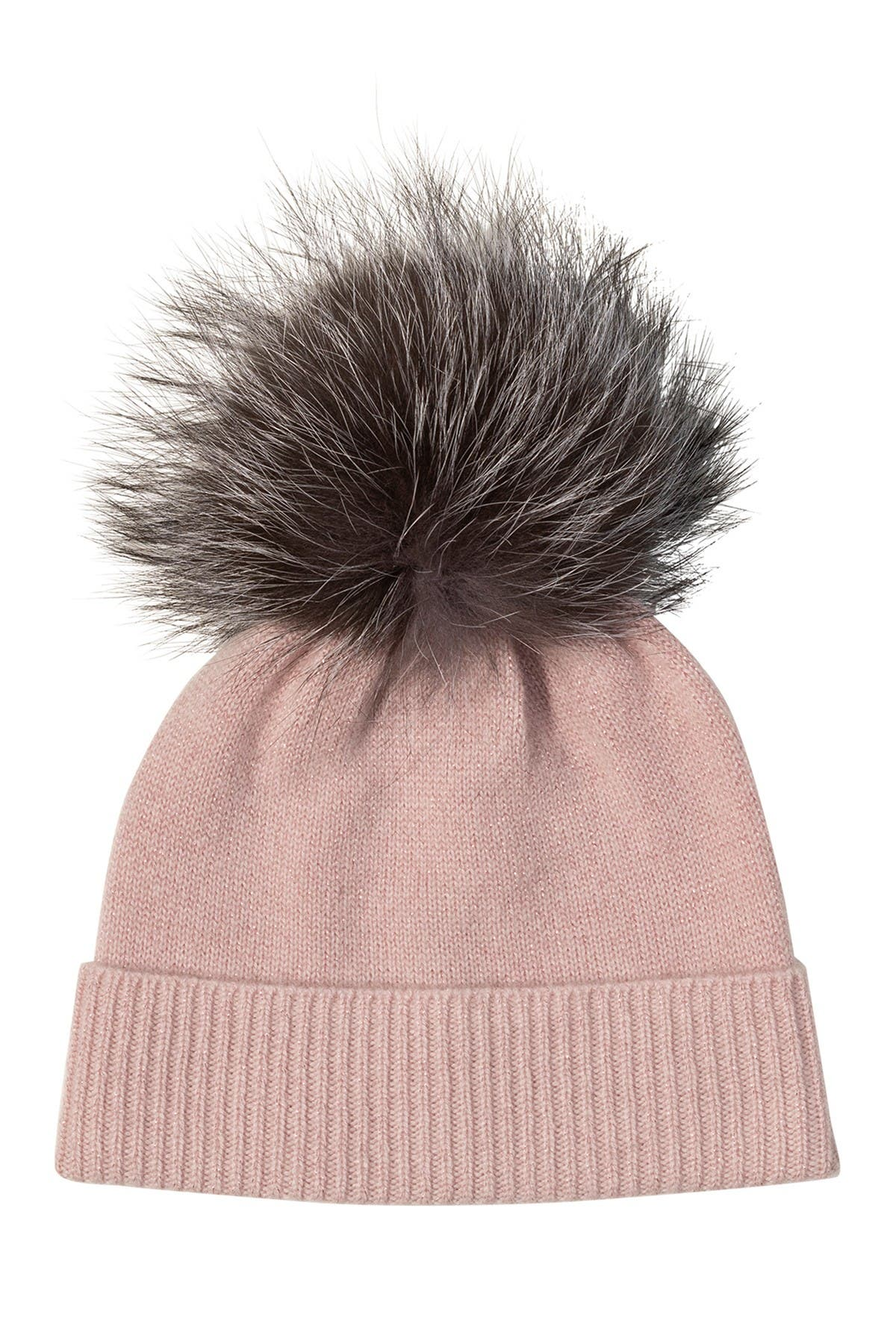 Image of AMICALE Cashmere Cuffed Lurex Hat with Genuine Fox Pom