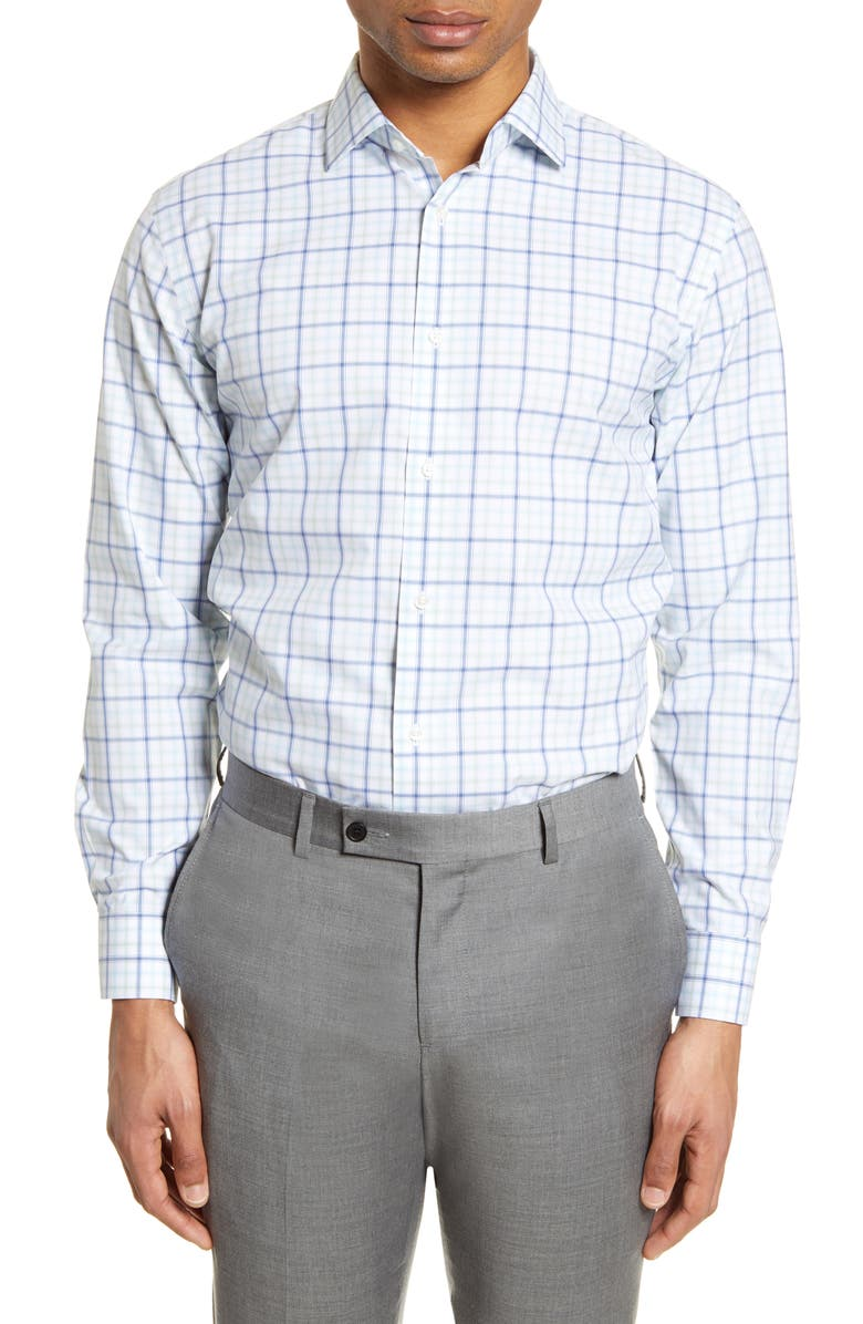 NORDSTROM MEN'S SHOP Trim Fit Medium Check Dress Shirt, Main, color, WHITE GREEN BLUE CHECK