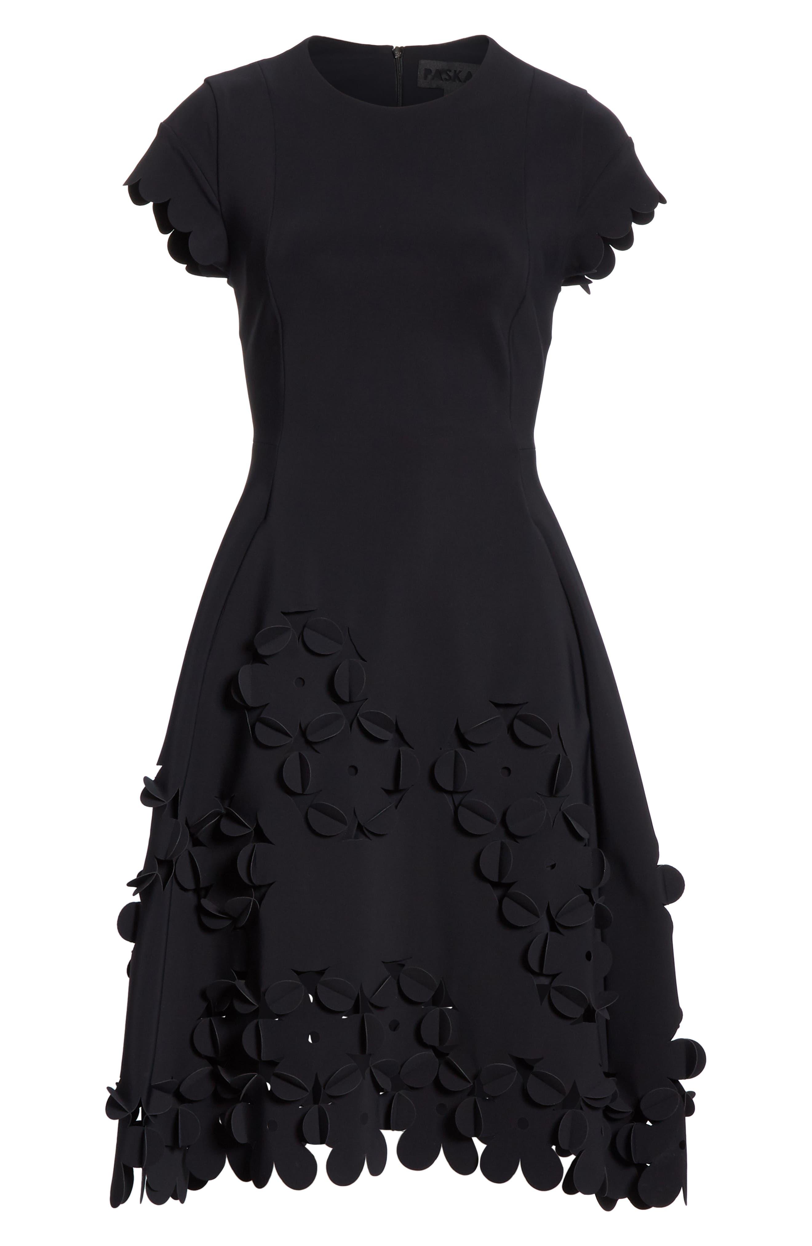 ,                             Floral Appliqué Fit & Flare Dress,                             Alternate thumbnail 6, color,                             001