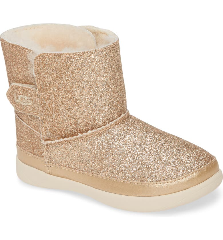 UGG<SUP>®</SUP> Keelan Glitter Genuine Shearling Boot, Main, color, METALLIC GOLD