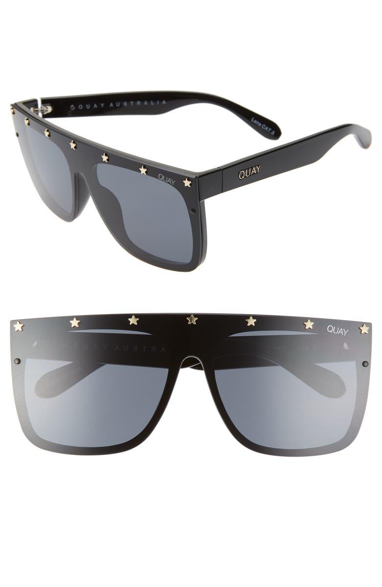QUAY AUSTRALIA x Lizzo Jaded 55mm Flat Top Sunglasses, Main, color, BLACK GOLD/ SMOKE