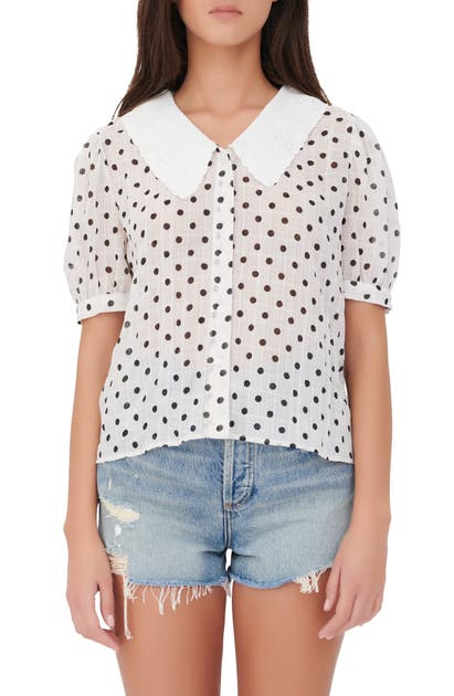 Maje POLKA DOT PETER PAN COLLAR BUTTON-UP SHIRT