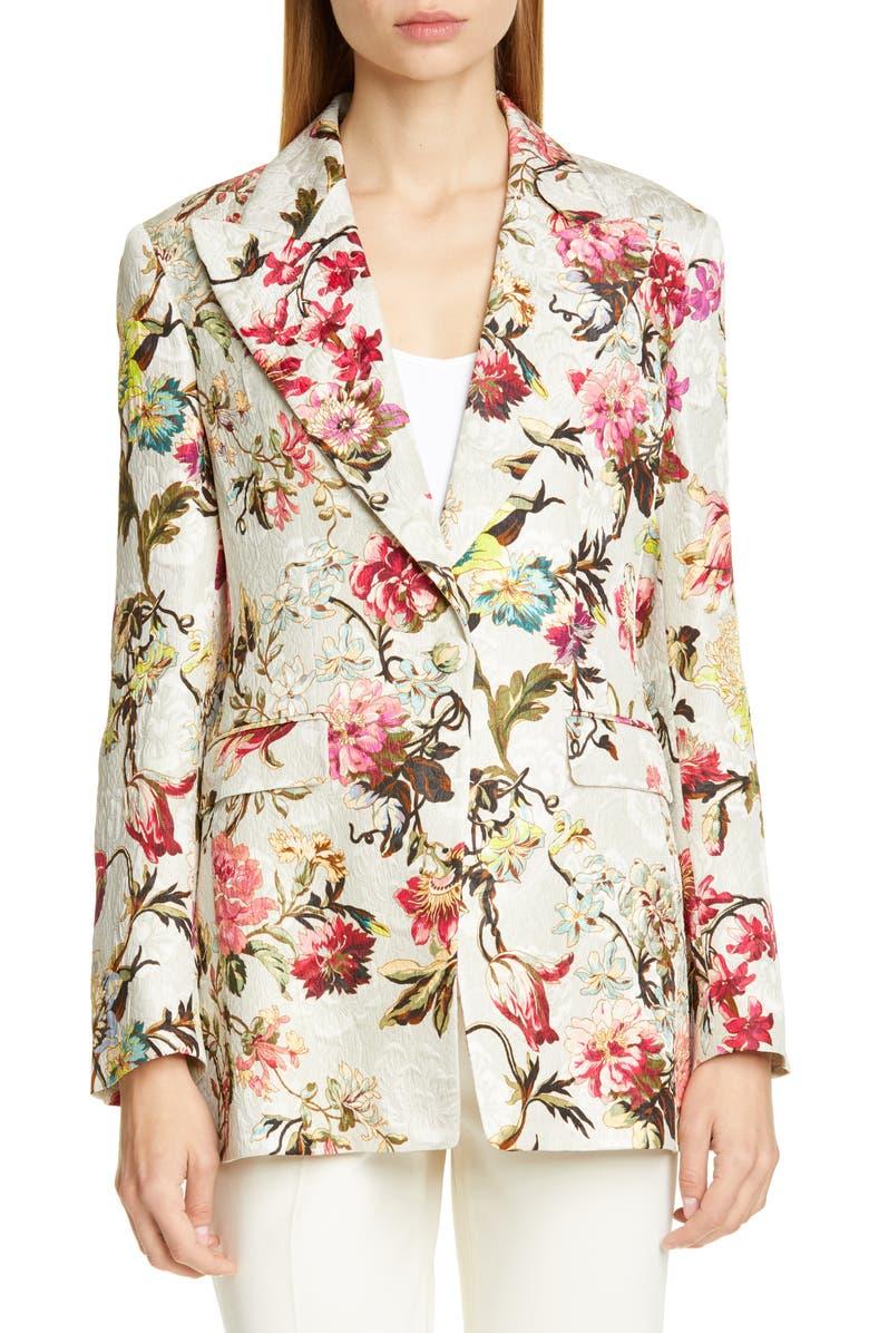 ETRO Floral Jacquard Blazer, Main, color, 100