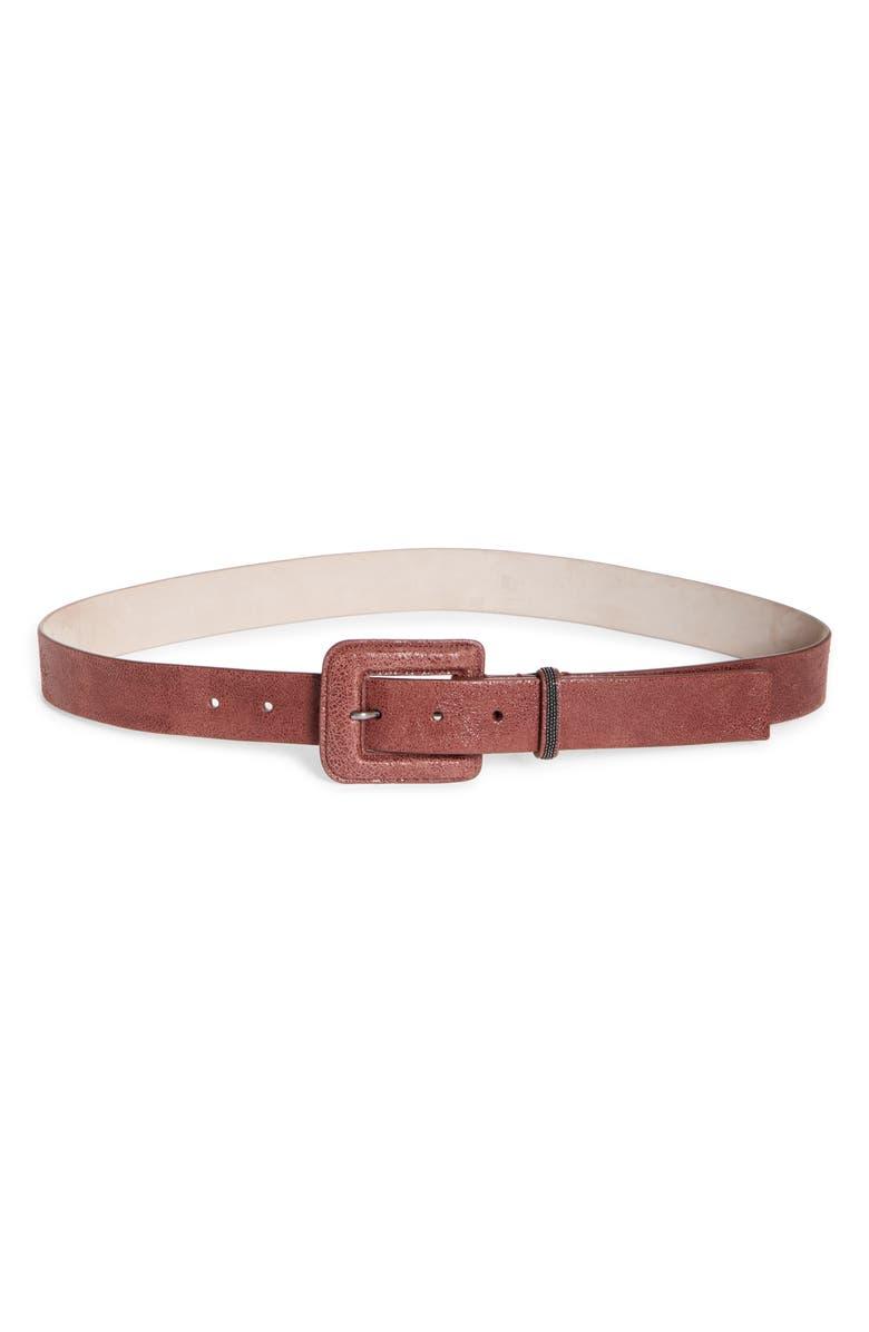 BRUNELLO CUCINELLI Calfskin Leather Belt, Main, color, APRICOT