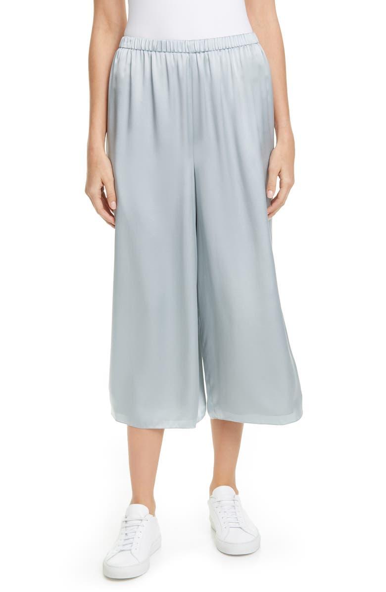 THEORY Fluid Silk Culottes, Main, color, MIST BLUE