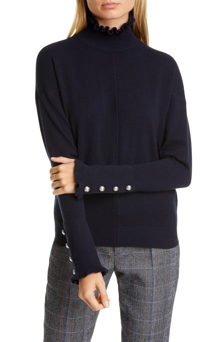 CHLOÉ Ruffle High Neck Cashmere Sweater, Main, color, STORMY NIGHT