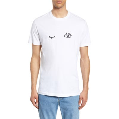 French Connection Wink Embroidered T-Shirt, White