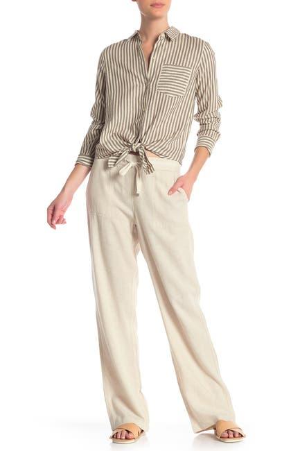 Image of Caslon Yarn Dye Striped Linen Blend Pants