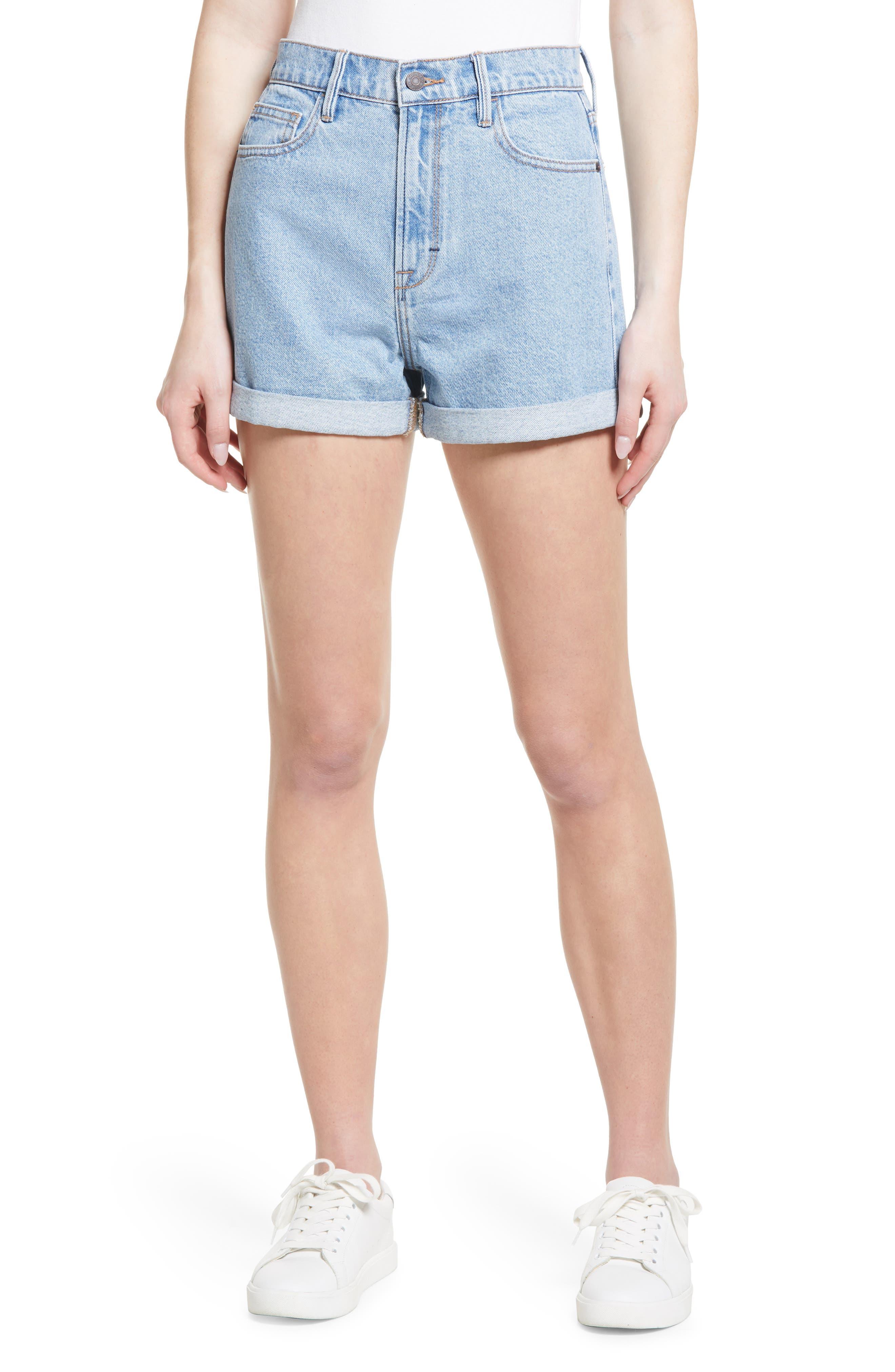 High Waist Cuff Nonstretch Denim Mom Shorts