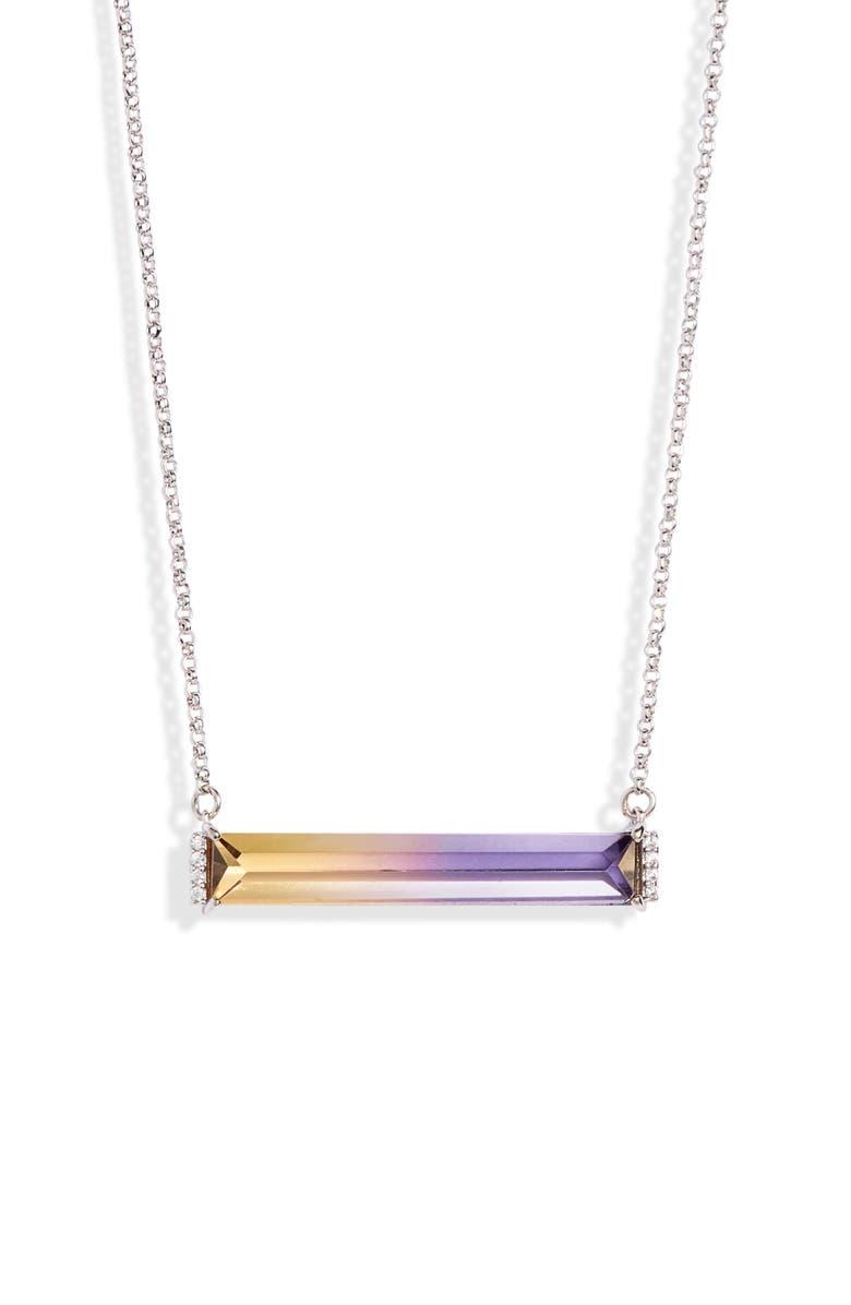 KATE SPADE NEW YORK geo gems mini pendant necklace, Main, color, LILAC MULTI