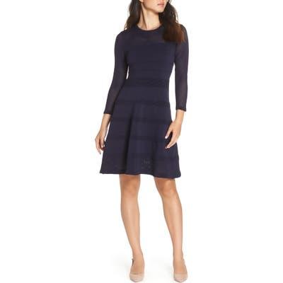 Vince Camuto Mix Stitch Pointelle Fit & Flare Dress, Blue