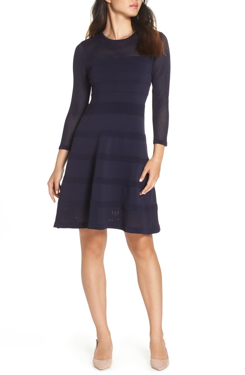 VINCE CAMUTO Mix Stitch Pointelle Fit & Flare Dress, Main, color, 410