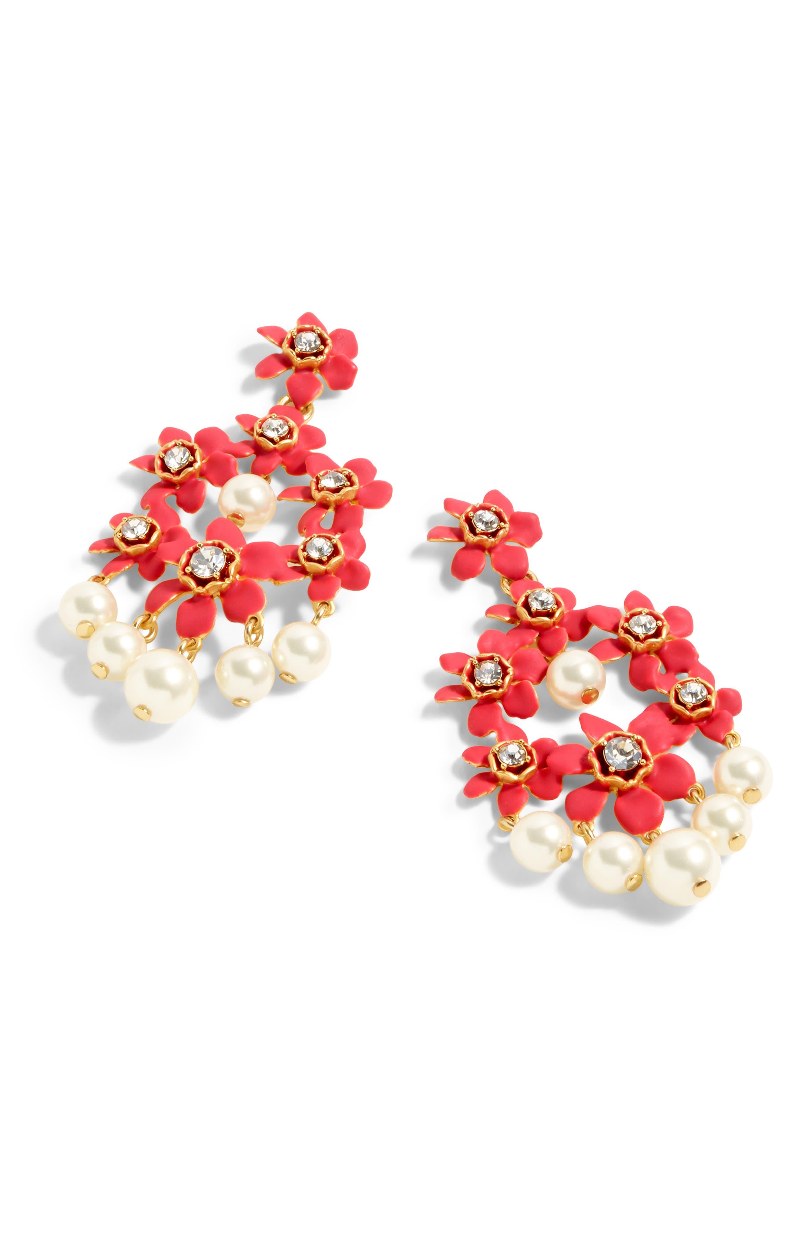 ,                             Pearl & Crystal Floral Chandelier Earrings,                             Main thumbnail 3, color,                             600