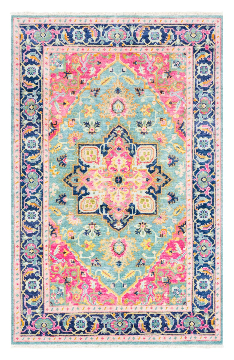 SURYA HOME Antique Hand Knotted Area Rug, Main, color, BRIGHT PINK
