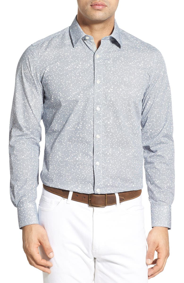 O BY OSCAR DE LA RENTA Trim Fit Print Sport Shirt, Main, color, 100