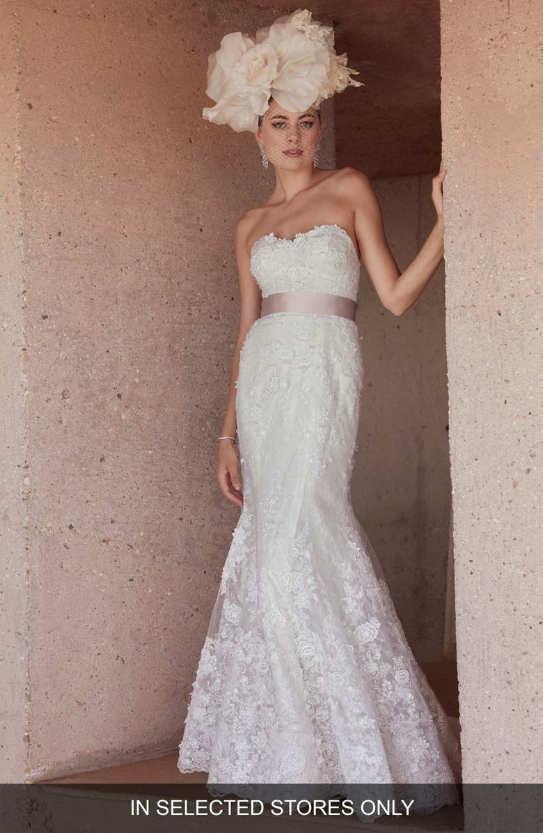 WATTERS Seymour Strapless Lace Trumpet Wedding Dress, Main, color, IVORY/ BLUSH