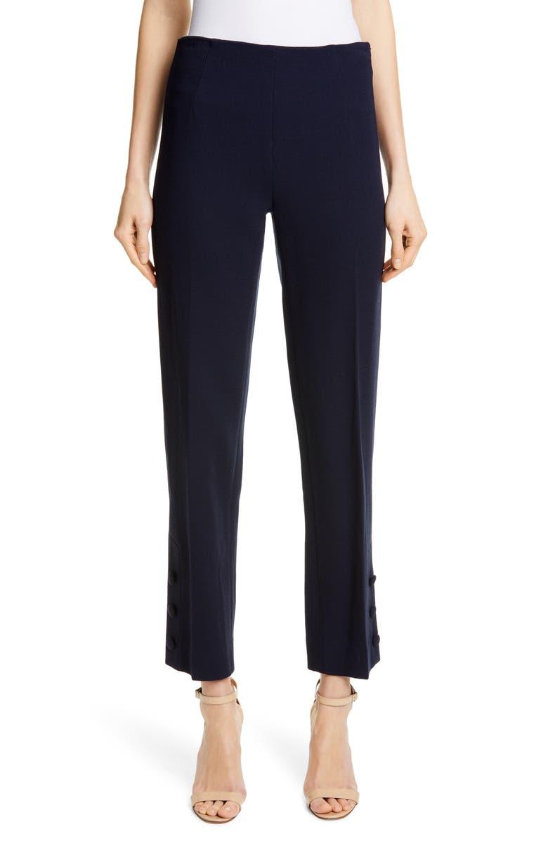 LELA ROSE Button Hem Wool Blend Straight Leg Pants, Main, color, NAVY