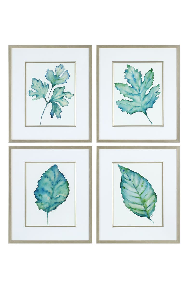 UTTERMOST Spring Leaves Set of 4 Framed Art Prints, Main, color, BLUE/ GOLD/ GREEN