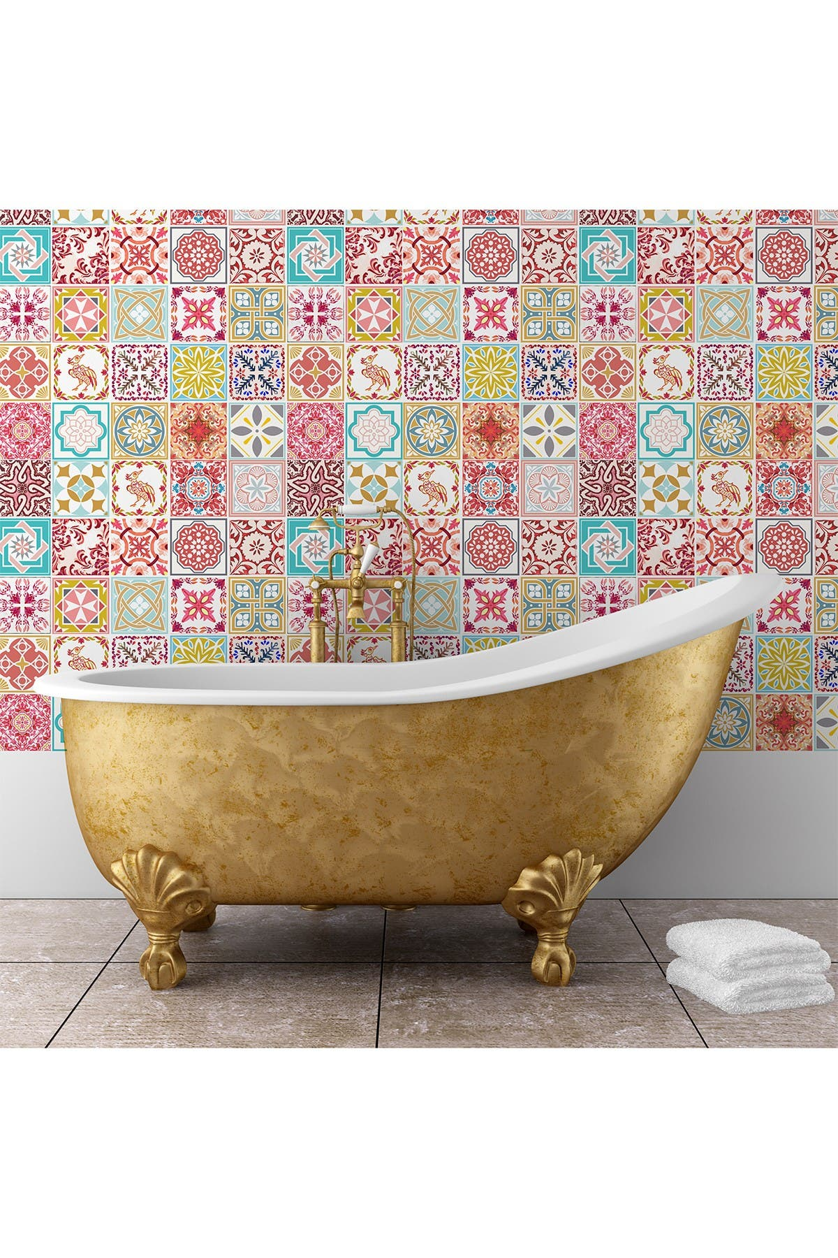 Image of WalPlus Pink & Blue Moroccan Wall Tile Sticker Set - 48 Pieces