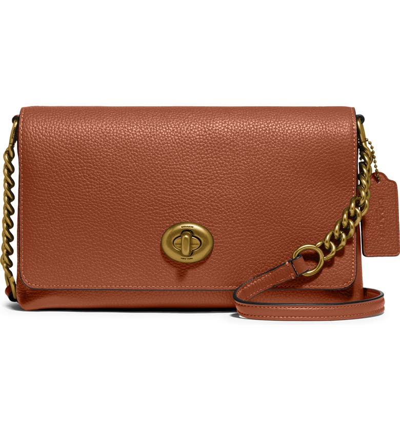 COACH Crosstown X Leather Crossbody Bag, Main, color, BRASS/ 1941 SADDLE