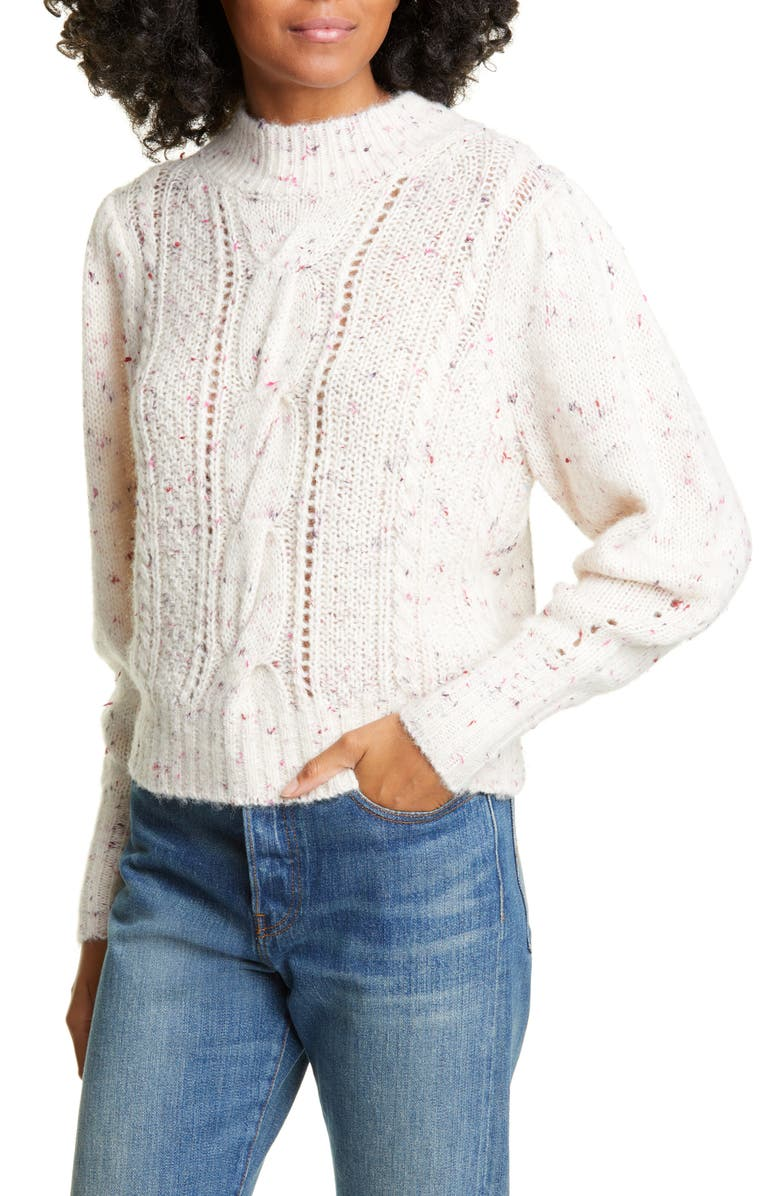 REBECCA TAYLOR Tweed Cable Pullover, Main, color, SNOW MULTI